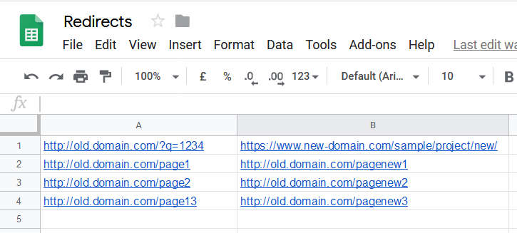 old page and new page url preparation for the use in 301 redirect code creation tool